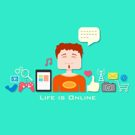 illustration of boy with social media icon in flat style Vector