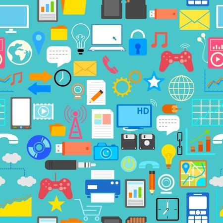 illustration of seamless social media pattern Vector
