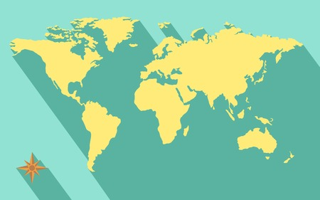 illustration of world map diagram in flat color Illustration