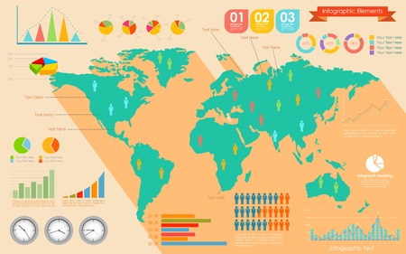 geographical locations: illustration of World Map Infographics Illustration
