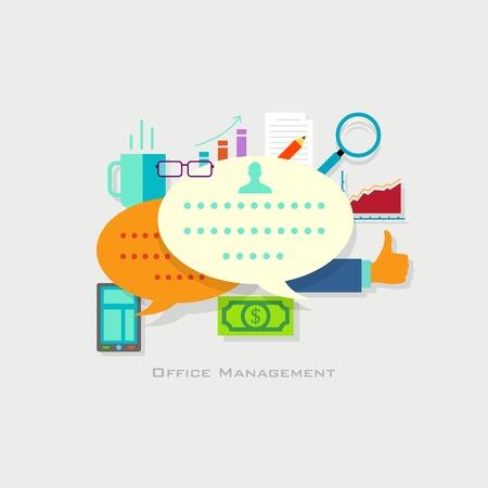 management concept: Ilustraci�n del concepto de gesti�n de la oficina con el empresario en estilo plano
