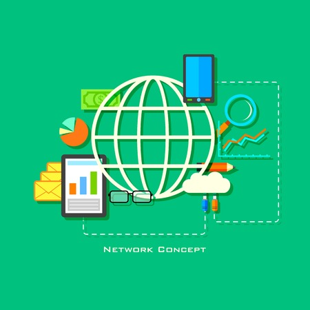 illustration of flat network concept with globe and gadget Vector