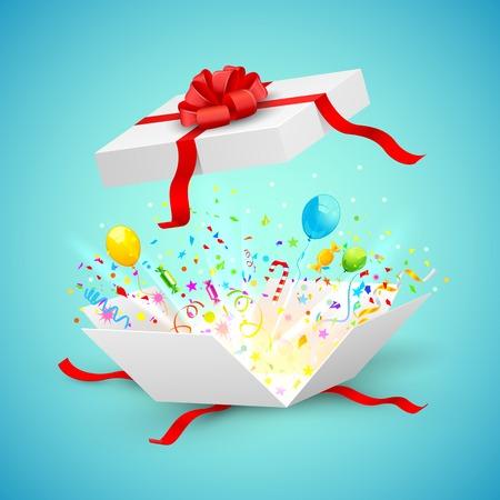 �tonnement: illustration de confettis et des ballons qui sortent de cadeau surprise