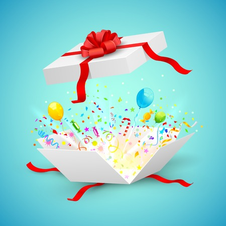 present box: illustration of confetti and ballons coming out of surprise gift
