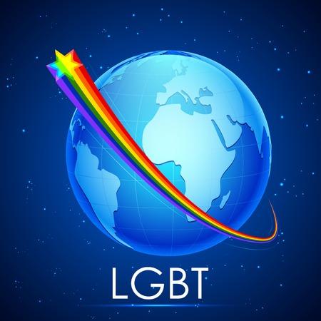 boda gay: ilustraci�n de la raya del color de la bandera del arco iris alrededor de la Tierra que muestra el concepto LGBT Vectores