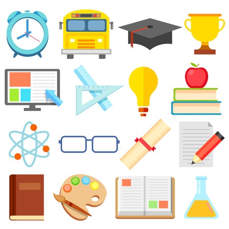 illustration of Flat Education Icon set Vector