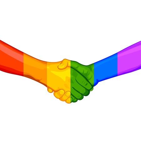 illustratie van de handdruk met geschilderde hand in regenboogvlag LGBT kleur