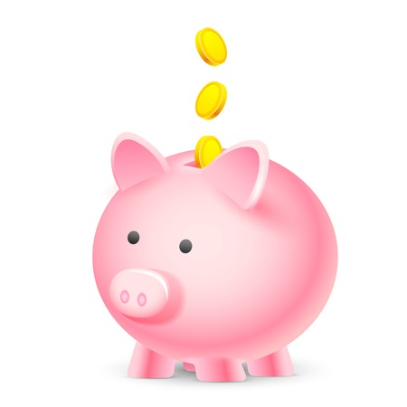 piggybank: illustration of coin falling into piggy bank showing saving concept