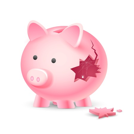 illustration of broken piggy bank with spider web