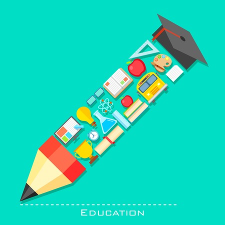 science text: illustration of education icon in shape of pencil