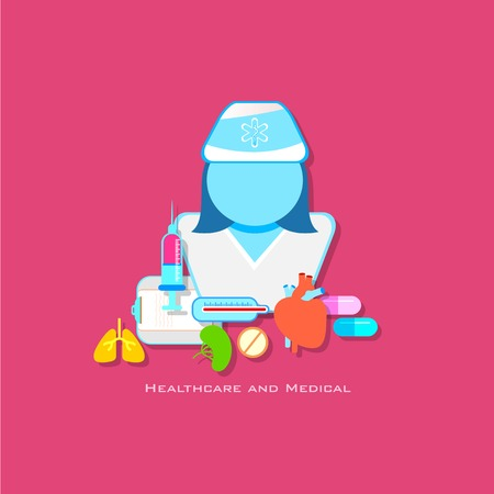 illustration of healthcare and medical concept with doctor in flat style Vector