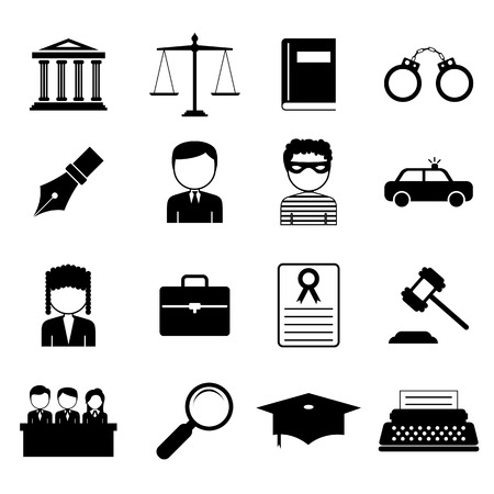 justice balance: illustration of law and justice icon in flat style