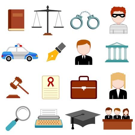 jurado: ilustración de la ley y la justicia en el icono de estilo plano