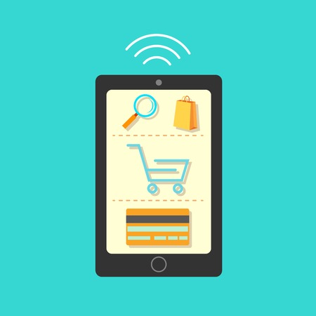 illustration of online shopping concept on mobile phone Vector