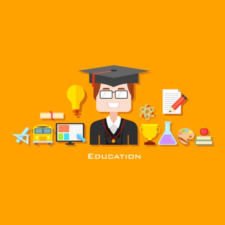 illustration of graduate with education icon in flat style Vector