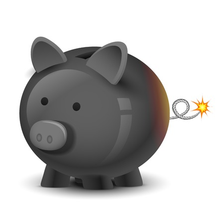 illustration of financial bomb in shape of piggy bank Vector