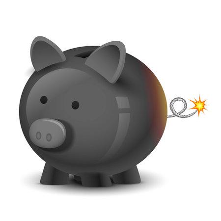 crisis economica: ilustración de bomba financiera en forma de hucha