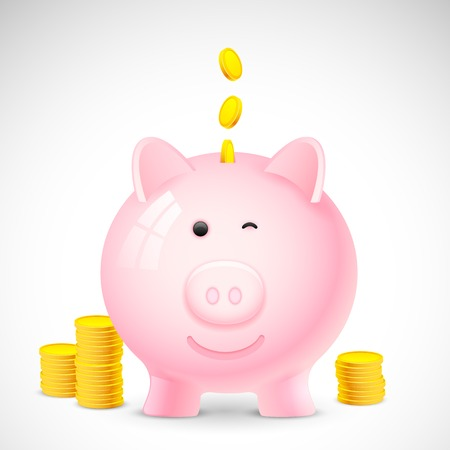 piggy bank: illustration of coin falling into piggy bank showing saving concept