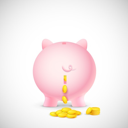 illustration of coin falling from piggy bank Vector