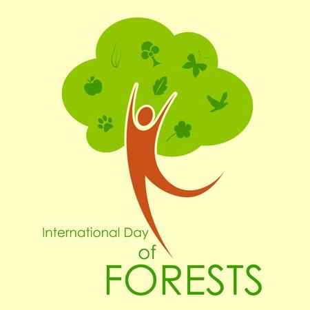 illustration of International Day of Forest with green tree Ilustração