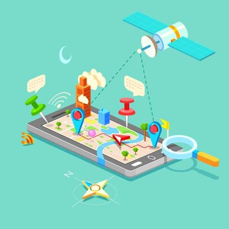 comunicazione: illustrazione del GPS nel telefono cellulare mappa mostra percorso