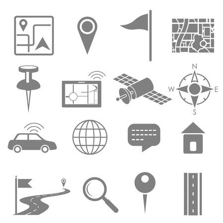 illustration of navigation icon set for GPS application Vector