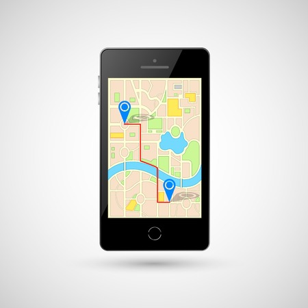 illustration of GPS in mobile phone showing route map Vector