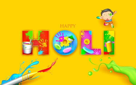 happy holi: illustration of colorful Happy Holi background design