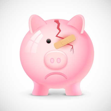 illustration of broken piggy bank with bandage Vector