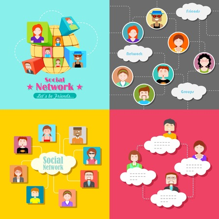 illustration of social media concept with people connected in flat style Vector
