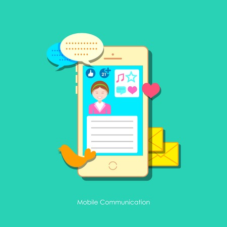 illustration of social media concept in mobile phone Vector