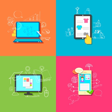 illustration of flat style online education, retail, business and communication Vector