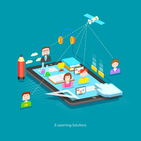 illustration of e learning concept in flat style Illustration