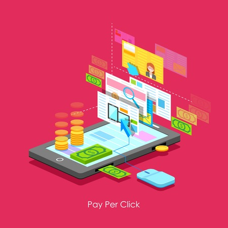 advertiser: illustration of Pay per Click concept in flat style