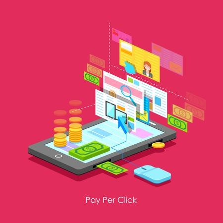 advertiser: illustrazione di Pay per Click concetto di stile piatto Vettoriali