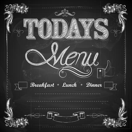 illustratie van menu geschreven op krijtbord