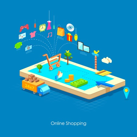 online trading: illustration of e commerce online shopping concept in flat style Illustration