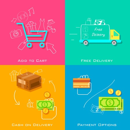 e commerce: illustratie van e-commerce online shopping concept in vlakke stijl