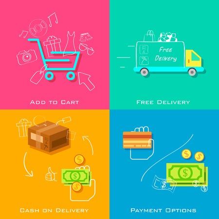 e commerce: illustration of e commerce online shopping concept in flat style Illustration