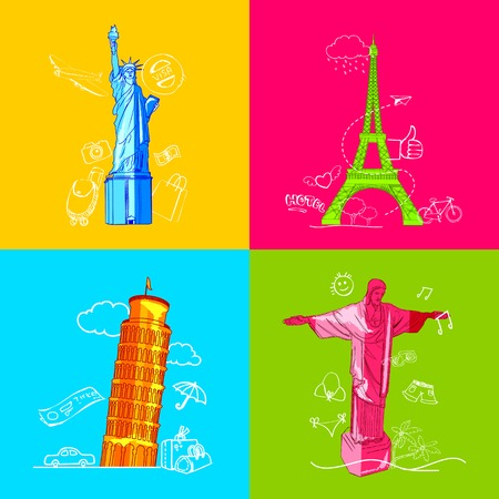 cristo: illustration of travel concept with monument in flat style