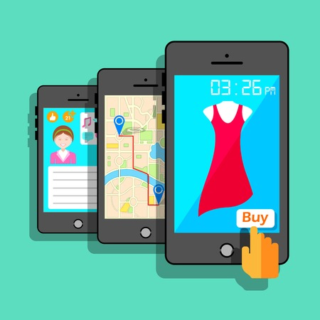 illustration of mobile application concept in flat style Vector