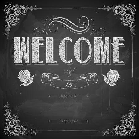 黒板に書かれた歓迎の図