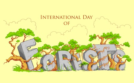 environmental awareness: illustration of International Day of Forest with green tree Illustration