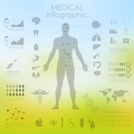 illustration of Healthcare and Medical Infographics with human anatomy Vector
