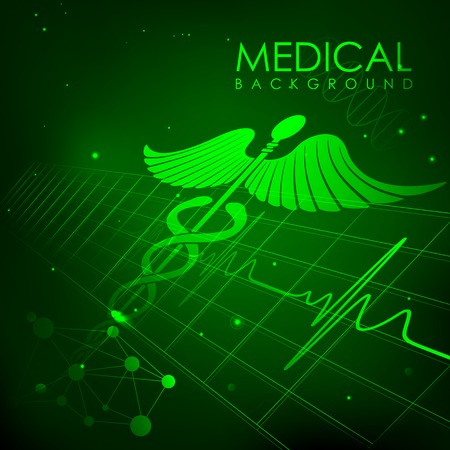 cardiac care: illustration of Caduceus symbol on heart beats in Healthcare and Medical Background