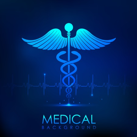 caduceus medical symbol: illustration of Caduceus symbol on heart beats in Healthcare and Medical Background