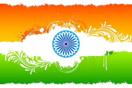 illustration of abstract floral Indian flag with grunge Vector