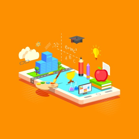 illustration of e learning concept on mobile in flat style Vector