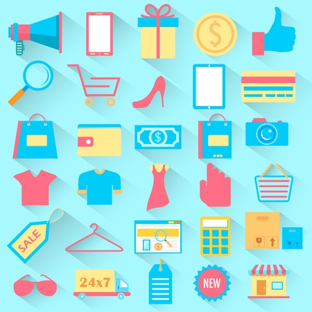 woman credit card: illustration of set of Shopping icons in flat style
