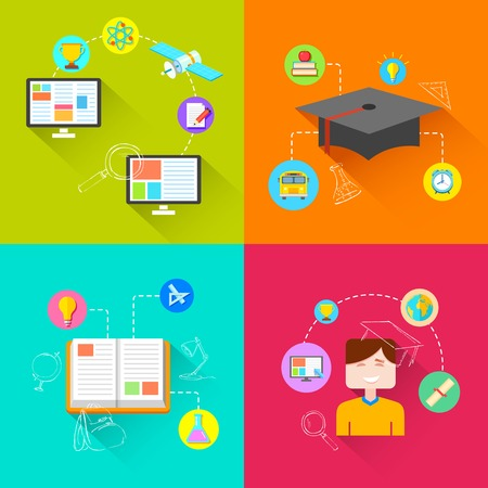 illustration of e learning concept in flat style Vector